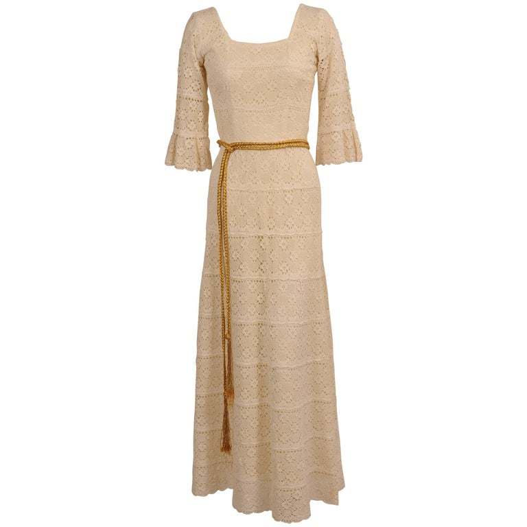 1970's Lace Maxi Dress with Braided Metallic Gold Belt For Sale