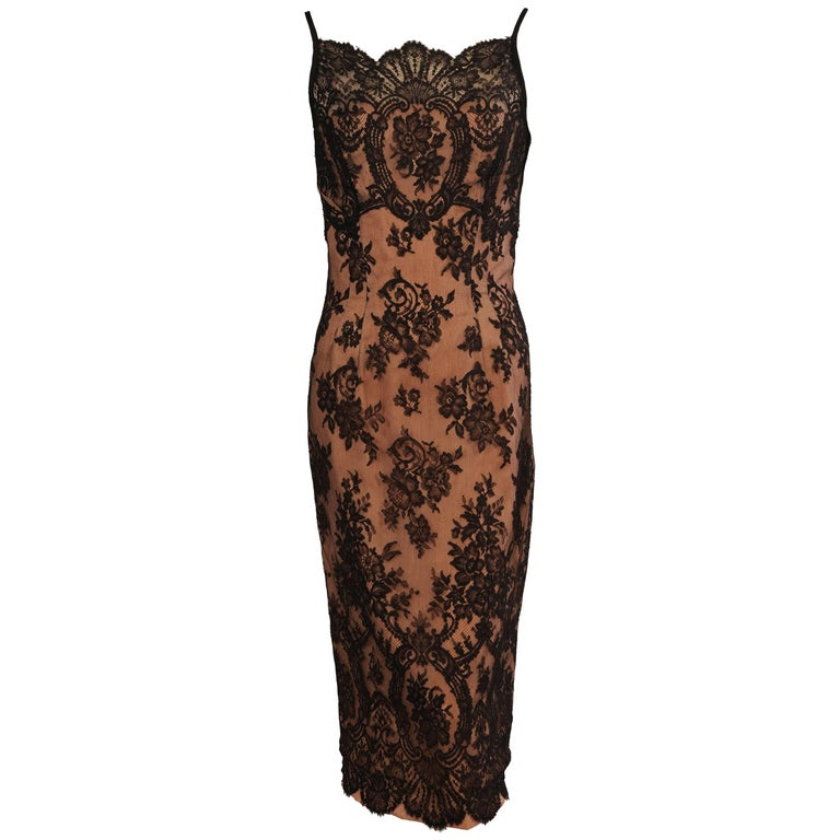 Ceil Chapman Black Lace over Nude Cocktail Dress, 1950s