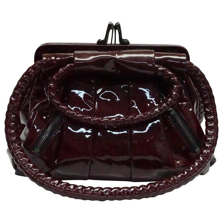 Louboutin Burgundy Patent Leather Handbag For