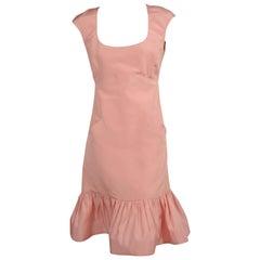Oscar de la Renta Pink Silk Dress with Ruffled Hem