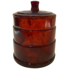 1930s Art Deco Tortoise Bakelite Machine Age Covered Powder Jar Box