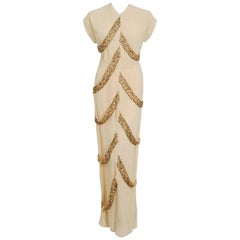 1940's Anna Miller Pale-Yellow Beaded Embroidered Crepe Carwash Panels Gown