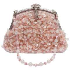 Larisa Barrera Beaded and Stone Pink Evening Bag