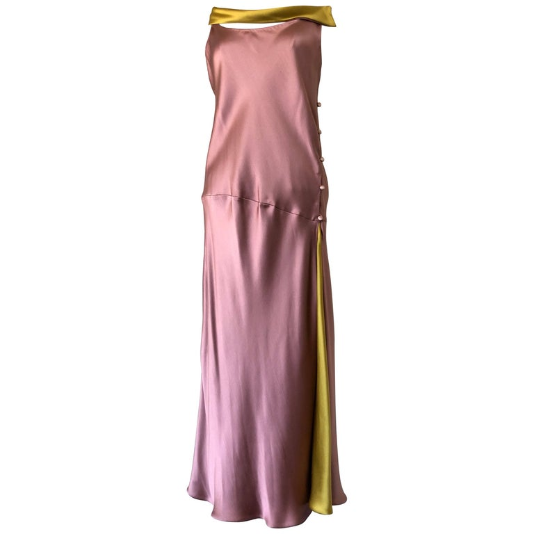 208016350680cf 1990s Bill Blass 2 Tone Silk Charmeuse Dress In Mauve and Burnished Gold  For Sale