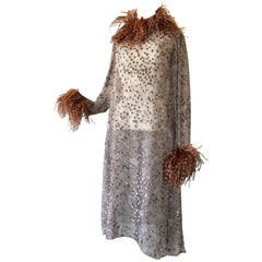1970s Ruben Panis Flocked Silk Chiffon & Feather Dress