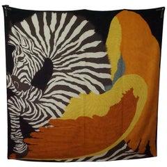 Hermes Zebra Pegasus Cashmere Silk Shawl