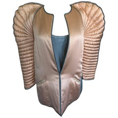 1983 Vogue Issue Fernando Sanchez Dramatic Quilted Silk Bed Jacket Ensemble