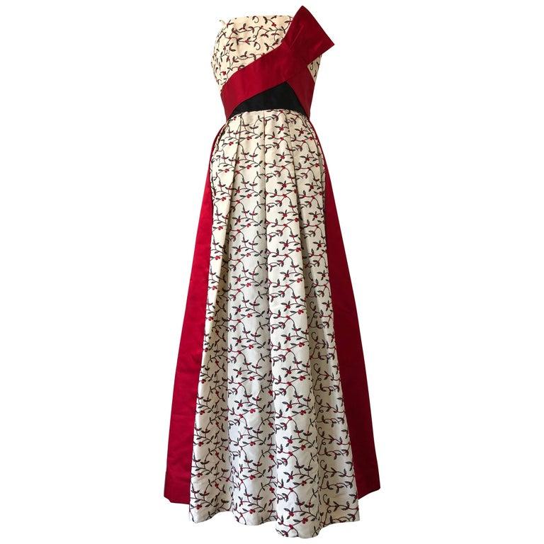 1950s Oleg Cassini Tri Colored Silk Taffeta Evening Gown W/ Red Sash Bodice For Sale