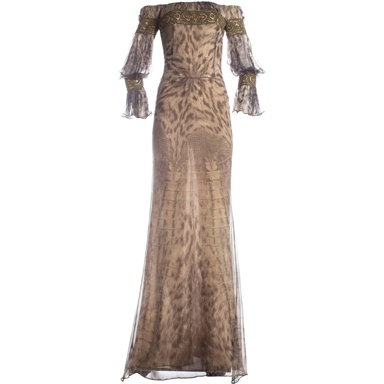 Alexander McQueen reptile printed silk chiffon evening gown, A / W 2004