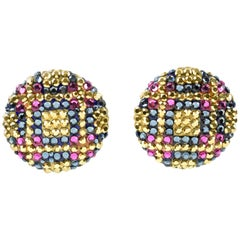 Richard Kerr Dangle Clip on Earrings Couture Color Crystal Rhinestones Paved