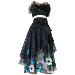 1950s Black Lace & Tulle Skirt Ensemble W/ Colorful Silk Flower Applique