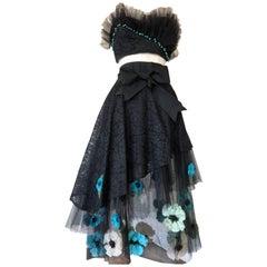 1950s Black Lace & Tulle Skirt Ensemble W/ Colorful Silk Flower Applique