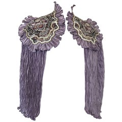 1970s Lavender Pleated Fortuny-Style Silk Capelet With Beaded Shoulder Epaulets