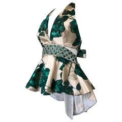 1950s Spring Emerald Water Color Floral Brocade Halter Top W/ Peplum & Back Tie