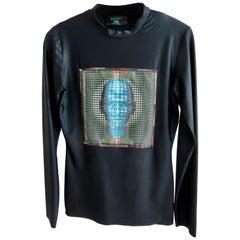 """1995 Jean Paul Gaultier """"Cyber-Age"""" Spandex Top/Op Art"""