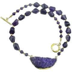 Amethyst Necklace with Amethyst Druzy