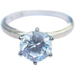 14-Karat Gold and Diamonique Cubic Zirconia Solitaire Ring