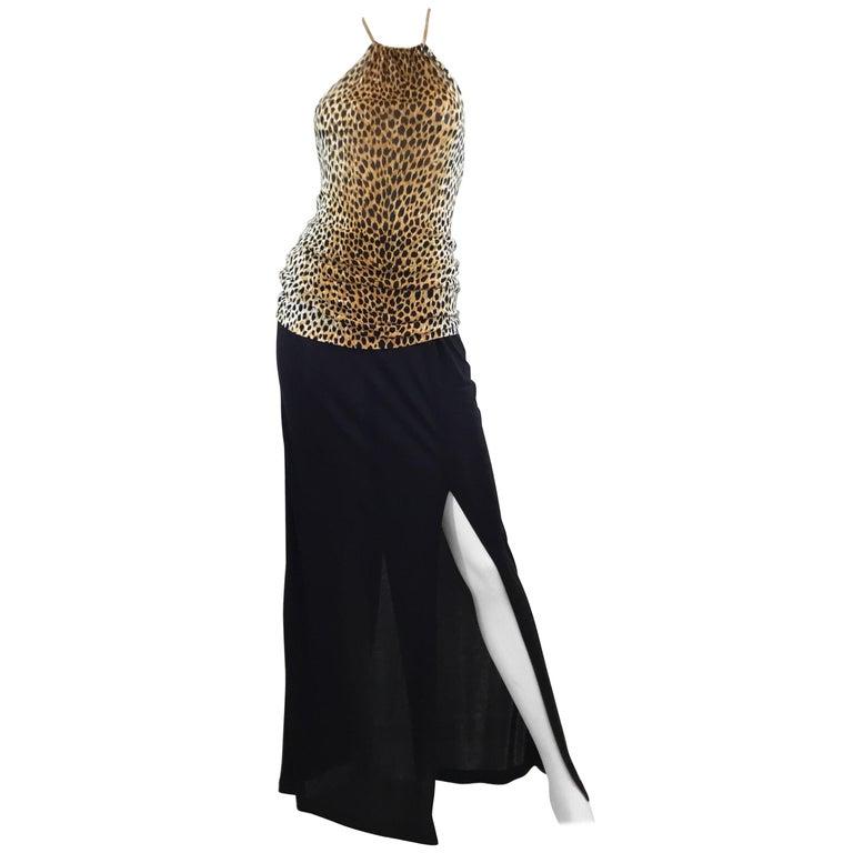 Dolce & Gabbana Leopard Halter Top and Maxi Skirt Ensemble