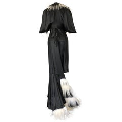 Couture Madame Zabel Black Satin Bias Gown With Jacket Trimmed With Fur, 1930s