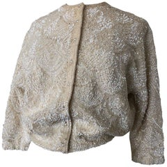 1960s Cream Angora Solid Sequin Pearl Button Cardigan