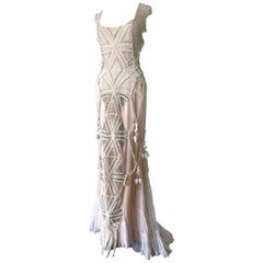 Artisanal -Made Bell Epoch White Crochet & Macrame Maxi Dress W Rope Tie Back