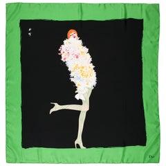 Christian Dior Vintage Silk Scarf by Rene Gruau