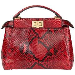 2017 Fendi Red Python Leather Mini Peekaboo
