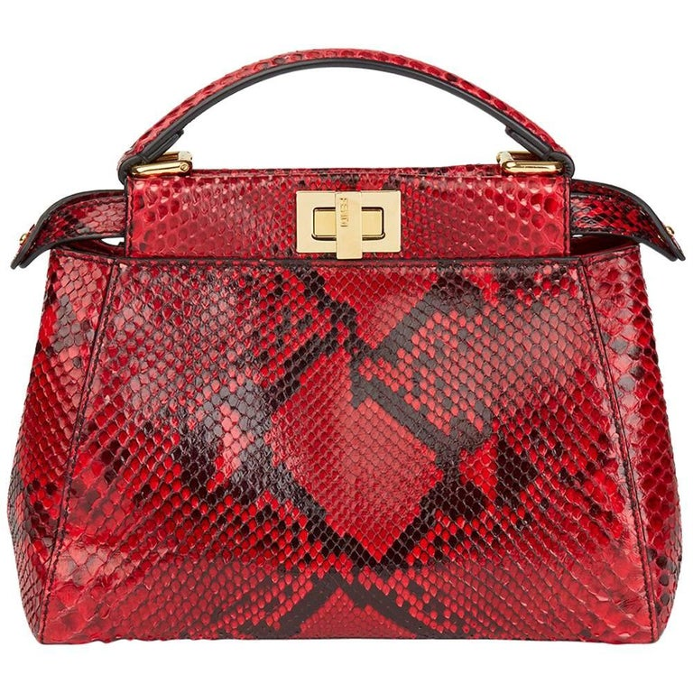 5588b33b4173 2017 Fendi Red Python Leather Mini Peekaboo at 1stdibs