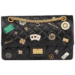 Chanel Black Aged Calfskin Casino Lucky Charms 2.55 Reissue 225 Double Flap Bag