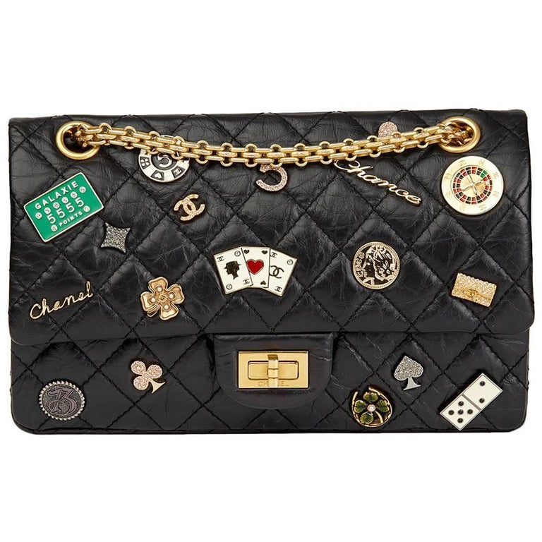 Chanel Black Aged Calfskin Casino Lucky Charms 2.55 Reissue 225 Double Flap Bag For Sale