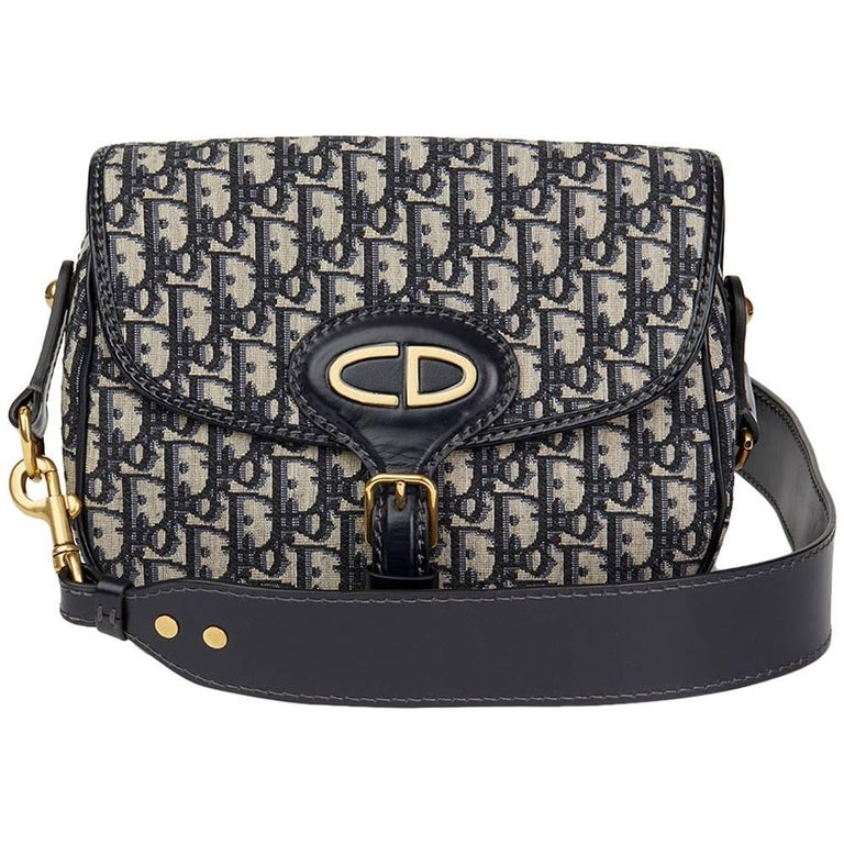 ade4eea4e 2017 Christian Dior Blue Monogram Canvas & Calfskin Leather Oblique Saddle  Bag For Sale.
