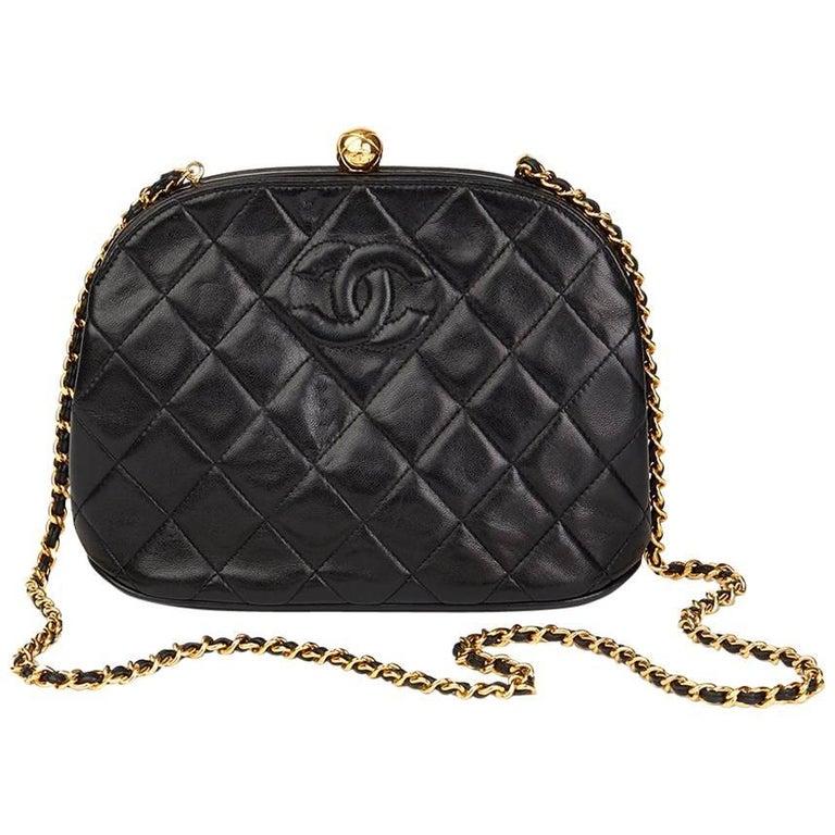 740b5f5802f3 1994 Chanel Black Quilted Lambskin Vintage Timeless Frame Bag For Sale.