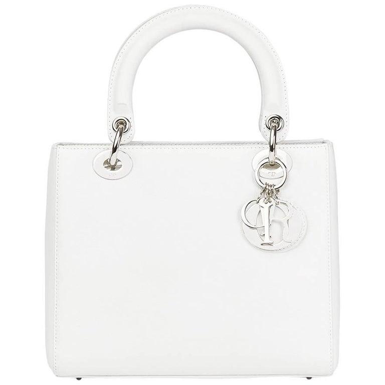 Christian Dior Lady Dior White Calfskin Leather MM Bag 1259ea426faa9