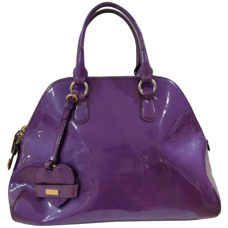 Moschino Purple Patent Leather Bag For