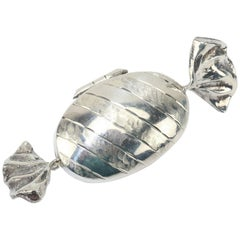 Whimsical English Sterling Silver Candy Pill Box