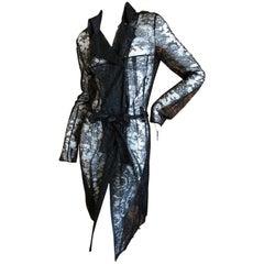 John Galliano Vintage Sheer Black Trench Style Coat Dress
