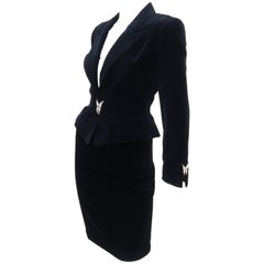Vintage Thierry Mugler Black Velvet Wasp Waist Suit With Butterfly Buttons