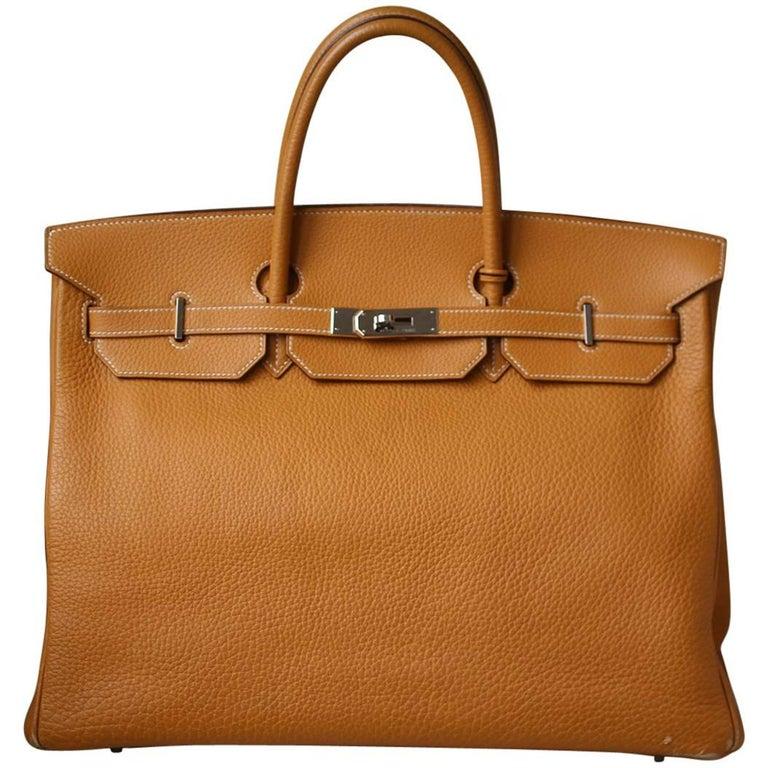Hermès 40cm Natural Mustard Togo with Palladium H/W Birkin Bag