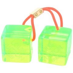 Louis Vuitton Green Lucite Hair Cubes