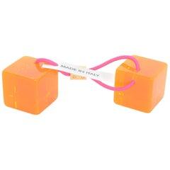 Louis Vuitton Orange Lucite Hair Cubes NIB