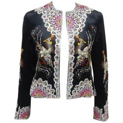 C.1960 Dynasty Colorful Beaded Black Satin Evening Jacket With Bird Motif