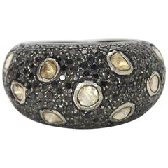 Sterling Silver Ring with Black & Rose Cut Diamonds Sz 7.5