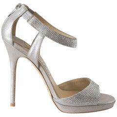 Jimmy Choo Shoe Platform Soft Silver Leather Diamantes 39 / 9