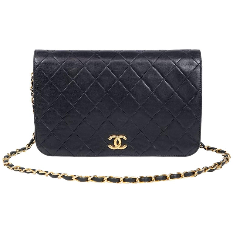 Chanel Navy Blue Leather Vintage Clutch with strap