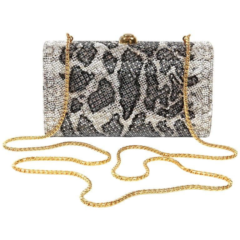 Judith Leiber Leopard Crystal Minaudiere Evening Bag For Sale