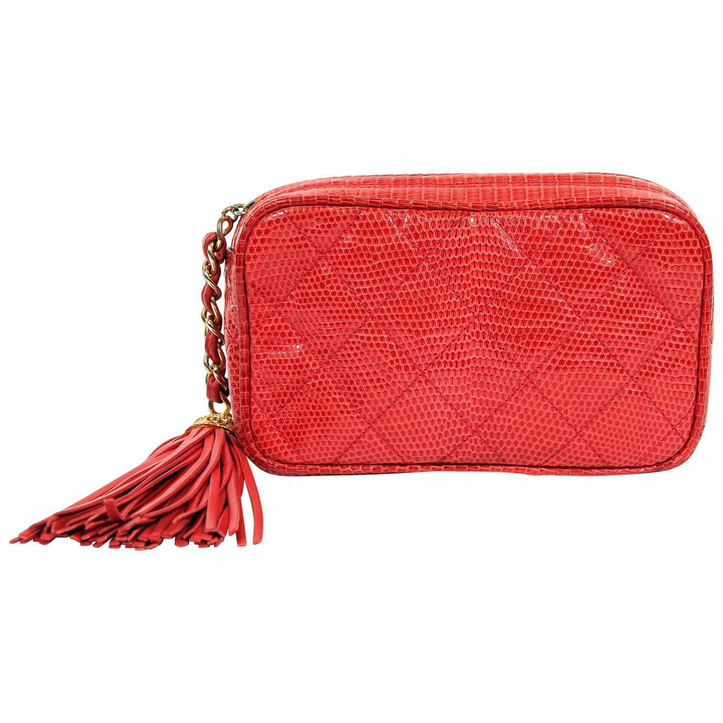 Chanel Red Lizard Vintage Tassel Clutch