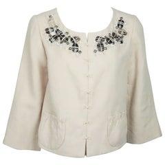 Robert Rodriguez Rose Peach Linen Jacket w/ Stone Embellished Detail - 10