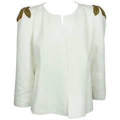Style Paris White Linen Jacket w/ Gold Sequin Detail On Shoulder - 42 - NWT
