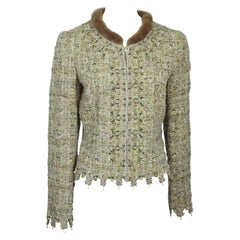 Rena Lange Pastel Embroidered and Beaded Embellished Jacket w/ fur collar- 42