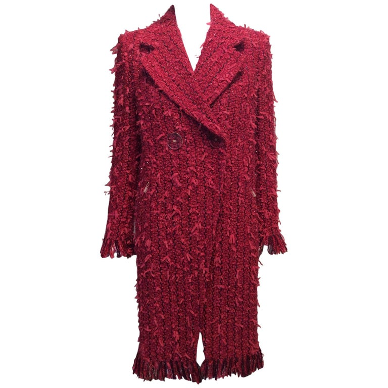 Chanel Raspberry and Plum Full-Length Tweed Coat with Fringe Sz Fr36, Us4
